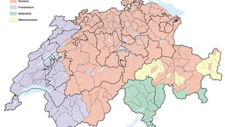 Carte de la Suisse avec les régions linguistiques