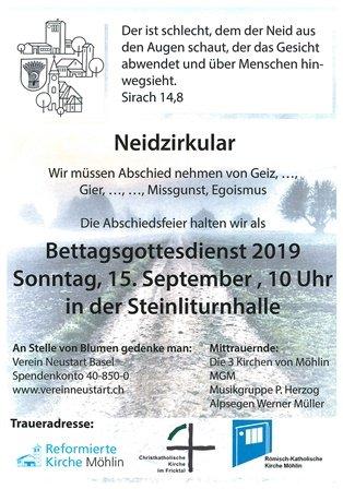 Bettagsdottesdienst 2019