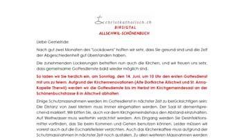 Brief an die Gemeinden Allschwil-Schönenbuch und Birsigtal im Juni 2020