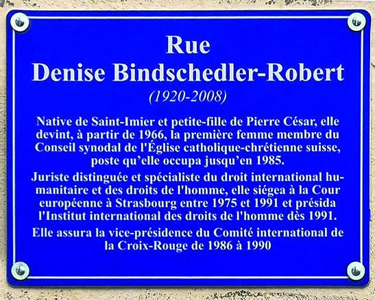 """Neue """"Rue Denise Bindschedler-Robert"""" in St-Imier"""
