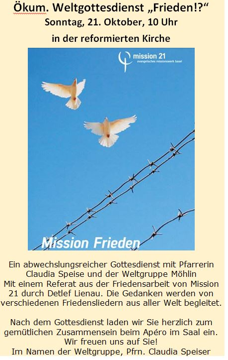 Ökumenischer Weltgottesdienst, Reformierte Kirche, 21. Oktober