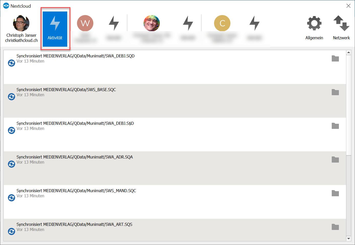 Cloud Synchronisation Benachrichtigung Desktop Liste